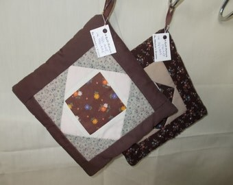 POTHOLDERS (#27) Brown Scrappy Square in Square Traditional Quilt Design, GA Mountain Made, Country Ranch Primative Farm Decor