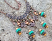 Bohemian Necklace - Copper Bib with Beaded wood Dangles - Colorful beaded necklace, Rustic Gypsy