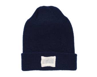 QMC Knit Watch Cap 100% Wool Winter Hat, Made in USA - Navy Blue
