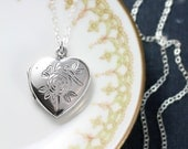 Sterling Silver Heart Locket Necklace, Small Rose and Dragonfly Engraved Picture Pendant - Touch of Nature