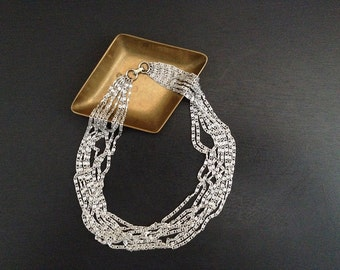 Vintage Sarah Coventry . Silver Multi-chain Choker . Costume Jewelry