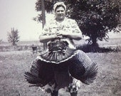 VERNACULAR SNAPSHOT PHOTO: A Bandanaed Woman with her Turkey, Beautifully posed artistic shot