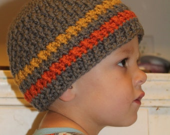 Made to order textured beanie, gray, gold, and orange; baby-adult