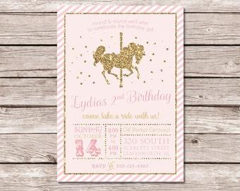 Pink Glitter Gold Carousel Birthday Invitation - DIGITAL FILE