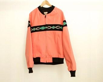 90s neon PINK ikat JEAN jacket vintage men's coat
