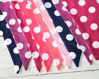 Polka Dot Bunting - Fabric Bunting - Purple - Pink - Navy