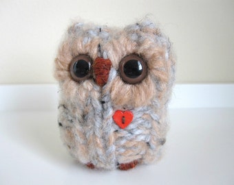 Tender Little Love Owl, Soft Grey and Peach Hand Knitted Plush Animal