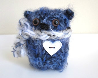 Blue Valentine Bear, Hand Knitted Stuffed Bear with White Heart Button and Scarf