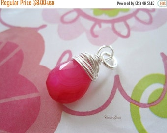 20% OFF ON SALE Hot Pink Chalcedony Sterling Silver  Wire Wrapped Briolette Dangle, 1 pc