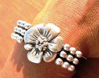 wrap bracelet, silver flower bracelet, flower friendship bracelets, friendship bracelets, leather bracelet, charm Bracelet, friendship gifts