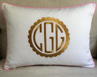 Monogrammed Pique Pillow