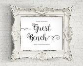 Printable Sign, Please Sign Our, Guest Bench, Wedding Reception, Gift Table, Guest Sign, Black and White, Script Font, Instant Download