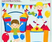 SALE Bounce House Boys Cute Digital Clipart for Card Design, Scrapbooking, and Web Design