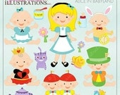SALE Alice in Babyland Cute Digital Clipart for Card Design, Scrapbooking, and Web Design