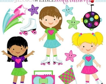 SALE Rollerskate Kate Cute Digital Clipart for Card Design, Scrapbooking, and Web Design