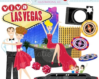 SALE Viva Las Vegas Cute Digital Clipart - Commercial Use OK - Vegas Graphics, Casino Clipart, Poker Chips, Limo