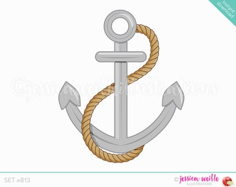 Instant Download, Anchor with Rope Cute Digital Clipart, Anchor Clip art, Nautical Graphics, Navy Anchor with Rope Illustration, #813