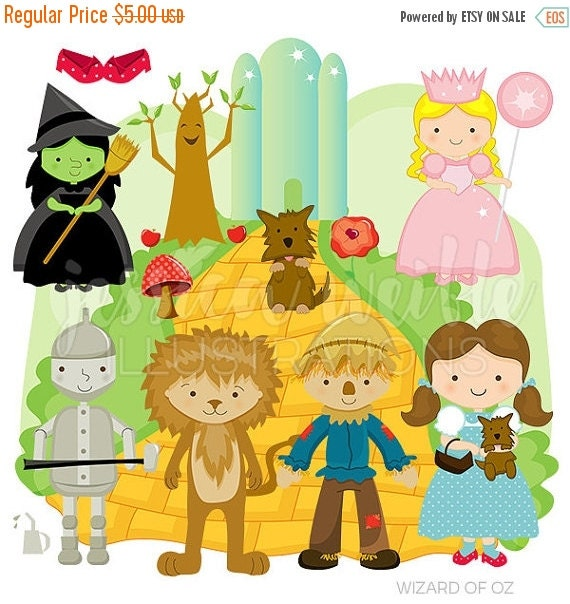 SALE Wizard of Oz Cute Digital Clipart for Commercial or Personal Use, Wizard of Oz Clipart, Wizard of Oz Graphics