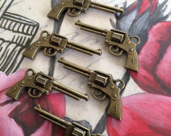 Annie Get Your Gun 6 Large Brass Gun Charms Jewelry Supply Scrapbooking Steampunk Rockabilly Charms Pistol Charms Gun Cabochon Weapons Etsy
