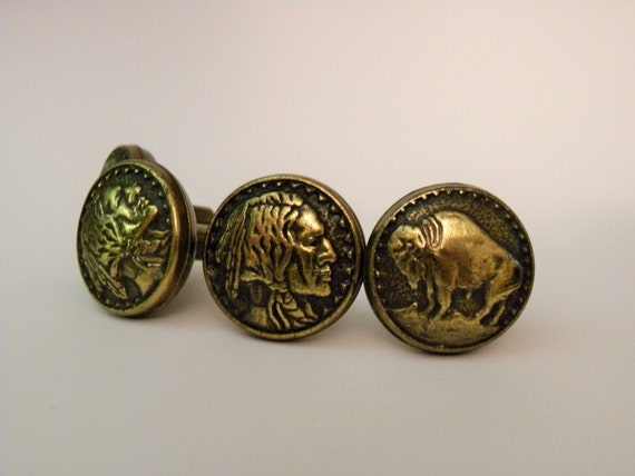 Brass Knobs With Bison on Face / Native by FieldsOfVintage ...