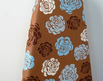 Ironing Board Cover - mocha brown with blue and taupe roses