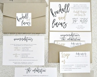 Kendall Calligraphy Pocketfold Wedding Invitation Suite with monogram seal - Ivory, Champagne Gold, Black (Color Customizable)