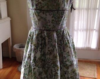 Vintage Cotton Dress Floral Print Pleated Sundress Tea purple lavender