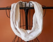 Fabric Infinity Scarf in White Textured Gauze Cotton