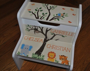 Kids Personalized 2 Step Stool - Woodland Tree Top -