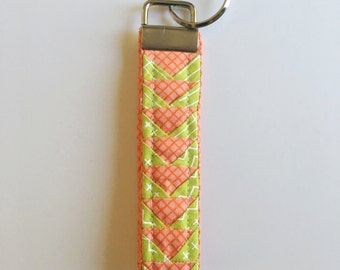 fabric lanyard, patchwork key fob, small gift under 30, coral keychain, quilted keychain, flying geese keychain, wristlet lanyard
