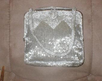Vintage art-deco Silver Beaded Evening Purse