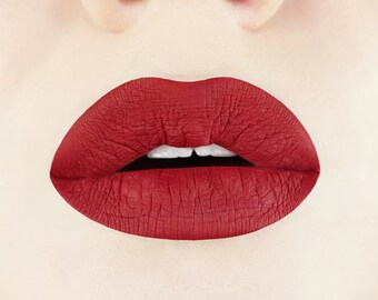 Rich Rosewood Liquid-to-Matte Lipstick.  Matte Lipstick.  Maroon Lipstick.  Vegan Liquid Lipstick.  Dark Red Liquid Lipstick