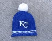 KANSAS CITY ROYALS, Kansas City Baby, Royals Baby, Royals Baby Hat, Hand Knit Baby Hat, Baby Hat, Baseball Baby Hat, Hand Knitted Baby Hat