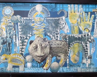 "DORR BOTHWELL COLLAGE ""Gold Of Ophir"" 1981 Paper Paint Framed 15-1/2"" x 9"""