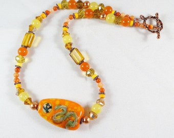 Yellow and Orange Necklace with a Lampwork Focal Bead