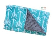 Burp Cloths Turquoise Arrow Minky Burp Cloth - Baby Shower Gift - Burp Rag - Feeding - Nursing - Newborn Essentials - New Mom Gift