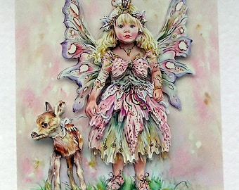 Fairy Hand Crafted 3D Decoupage Card, Blank for any Occasion (2016)), Birthday Card, Fairy Card, Layered Card, Fantasy Card, Sister Card