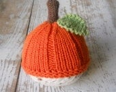 Newborn Pumpkin Hat, Knit Baby Cap Knitted Beanie Infant Fall Photo Prop, Halloween, Autumn, Jack o lantern, Orange, Crochet, Toddler SALE