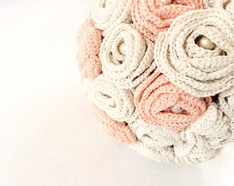 Beige and salmon pink  wedding bouquet bridal bouquet hand crochet with vintage pearls