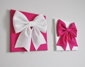 Baby Girl Wall Art, Hot Pink and White Nursery, Nursery Art Canvas, Bow Art, Kids Wall Art, Customize to Your Decor
