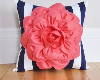 Nautical Decor -Navy Stripe Pillow with Light Coral Dahlia Flower- Housewarming Gift - Gift for Her - Baby Nursery Decor