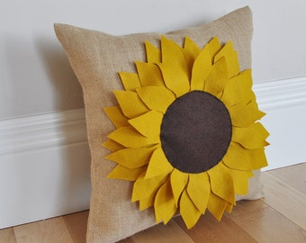 Sunflower Pillow- Burlap Pillow - Fall Pillow - Summer Pillow -Garden Pillow - Autumn Decor - Housewarming Gift Pillow