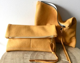 Soft Bison Yellow Leather Clutch - camel leather clutch - fold over clutch