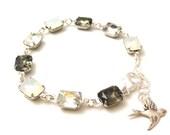 vintage opal black diamond clear rhinestones   vintage jewels bracelet   wedding   bridal party   dames & divas bracelet