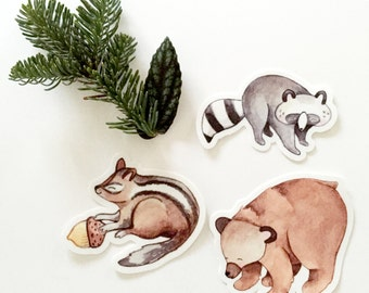 Woodland Creatures Stickers, Set of 3
