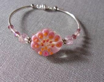 Pink Lampwork Bead bracelet