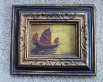 Chinese Junk, Vintage Oil Painting of Junk, Ship at Sea, Signed Oil Painting