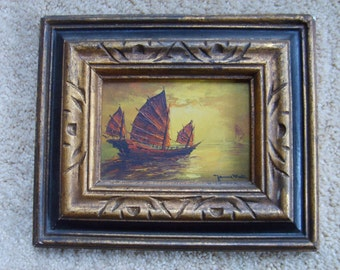 Vintage Oil Painting of Junk, Ship at Sea, Signed Oil Painting