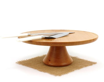 "12"" Cherry Wedding Cake Stand - Wooden Cake Stand - Cake Plate"