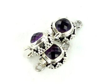 Amethyst Clasp Sterling Cushion 8mm Faceted
